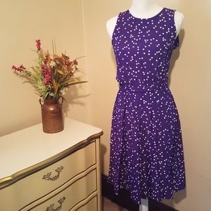 Purple w/ White Polka Dot Midi Fit and Flare Dress